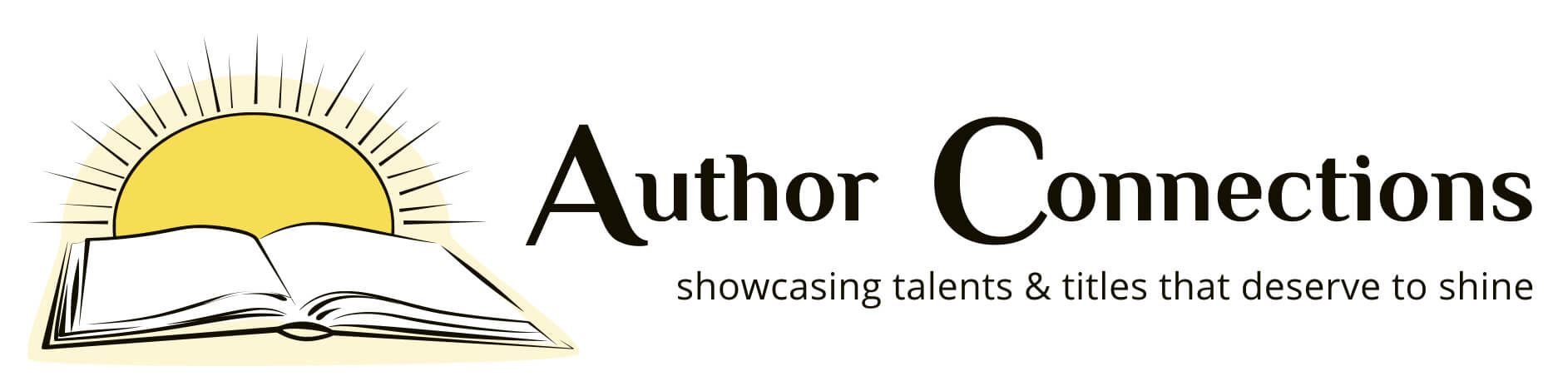 Logo- Author Connections. with sun and open book to the left of words
