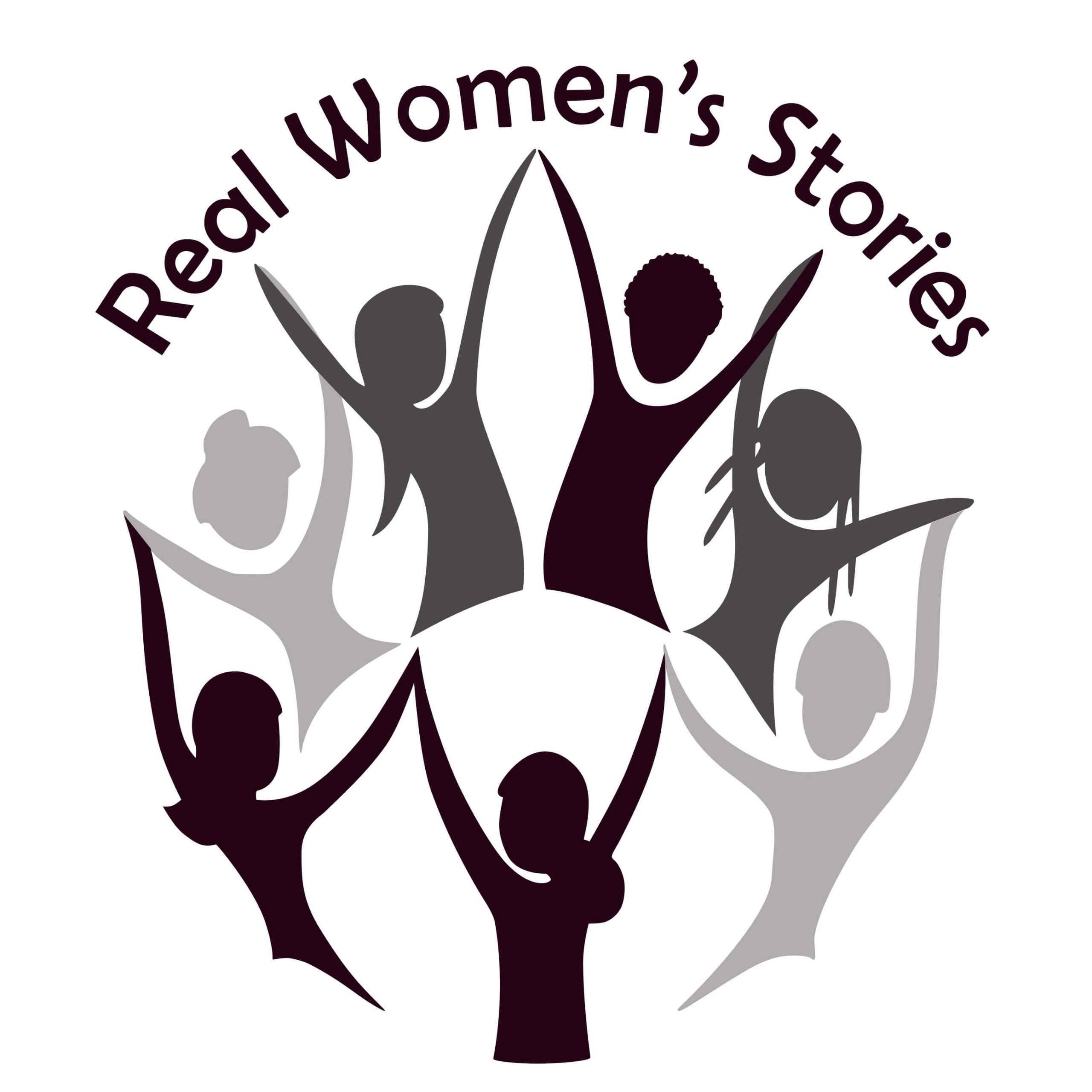Real Women's Stories Logo. Pink oval with general shadow images of women holding hands